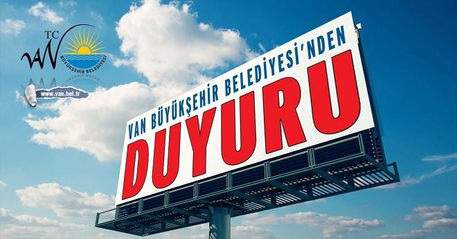 Van Büyükşehir Belediyesinden Önemli Duyuru!