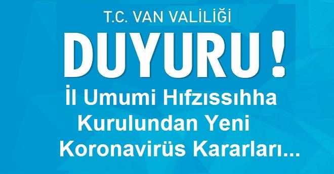 İl Umumi Hıfzıssıhha       Kurulundan Yeni    Koronavirüs Kararları