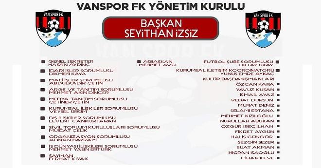 Vanspor'un Yeni Yönetiminin Görev Dağılımı Belli Oldu