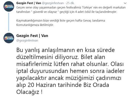 Gezginfest Van İptal