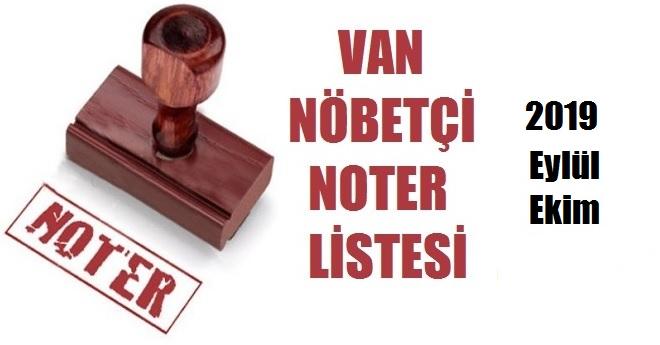 Van 2019 Nöbetçi Noter Listesi