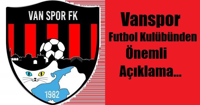 Vanspor FK'dan Önemli Açıklama
