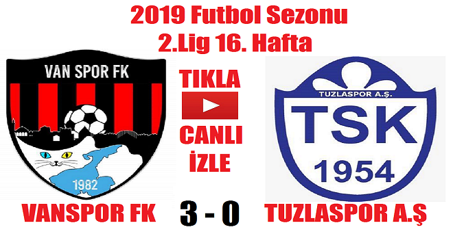 Vanspor 3 – 0 Tuzlaspor (Maç Özeti)